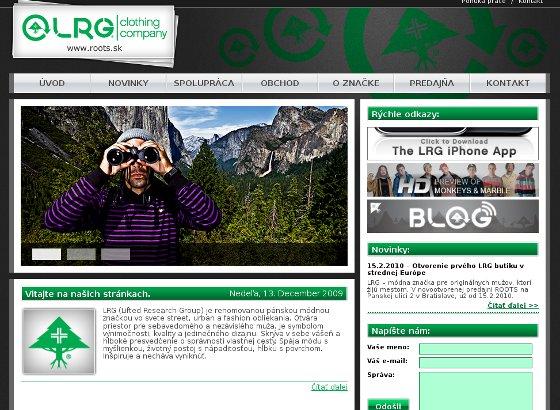 Popis: web stránka pre značku oblečenia pre mužov lrg
